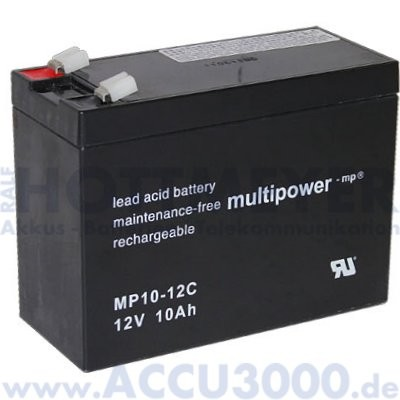 12V, 10.0Ah (C20), Multipower MP10-12C, Zyklenfest