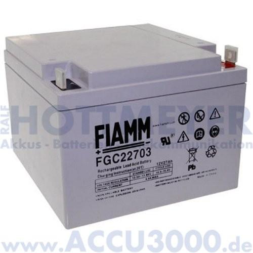 12V, 27.0Ah (C20), Fiamm FGC22703, Zyklenfest