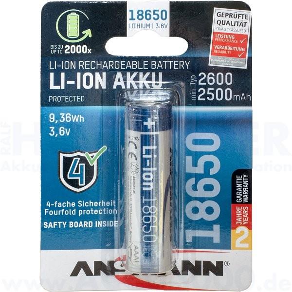 Ansmann Lithium-Ionen Akku 18650 - Geschützt - mit Schutzelektronik