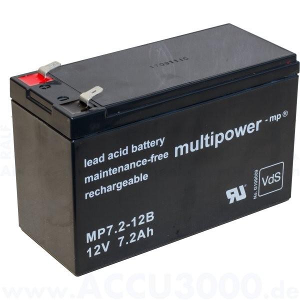12V, 7.2Ah (C20), Multipower MP7.2-12B