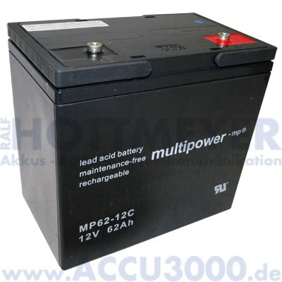 12V, 62.0Ah (C10), Multipower MP62-12C, Zyklenfest