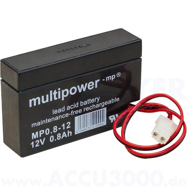 12V, 0.8Ah (C20), Multipower MP0.8-12 - mit Kabel und AMP-Buchse