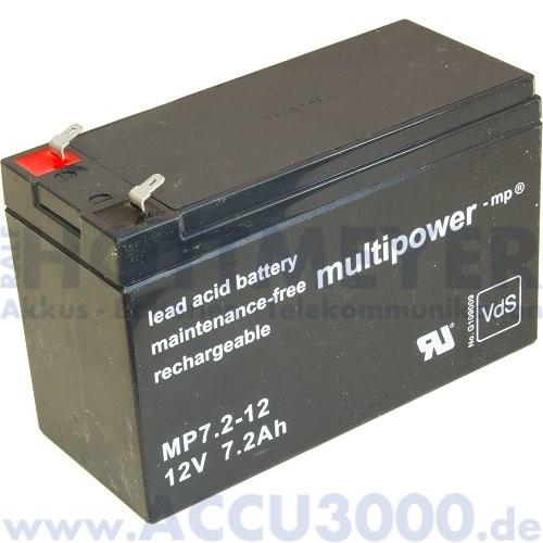 12V, 7.2Ah (C20), Multipower MP7.2-12