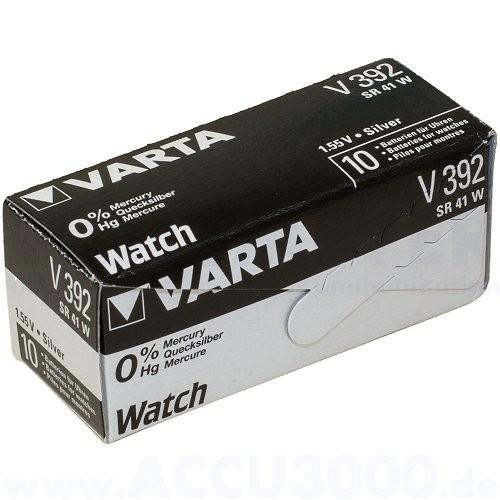 Varta Silber 392 (V392) - SR-41 - SR736W, 1.55V - Uhrenbatterie, High Drain, 10er Pack
