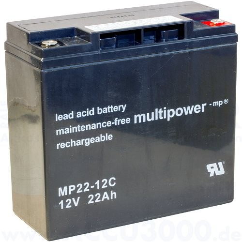 12V, 22.0Ah (C20), Multipower MP22-12, Zyklenfest
