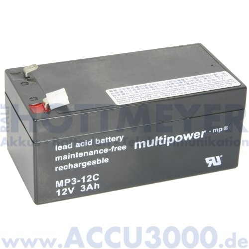 12V, 3.0Ah (C20), Multipower MP3-12C, Zyklenfest