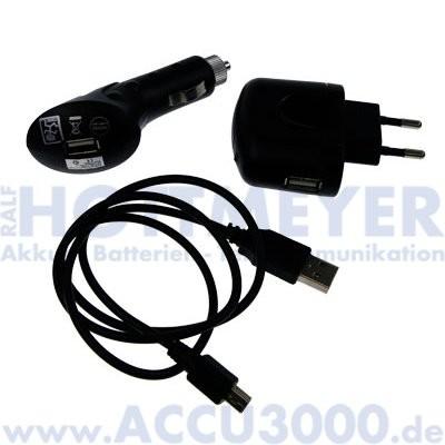 2GO Mini USB Power-Set - mit 230V und 12/24V Lademöglichkeit - für Geräte mit Mini USB Anschluss