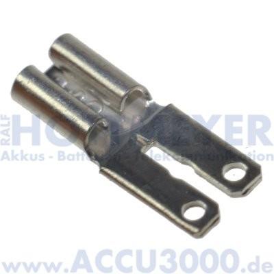 Flachsteckeradapter für Bleiakkus 4.8/6.3 - von Faston 187 (4.8mm) auf Faston 250 (6.3mm)
