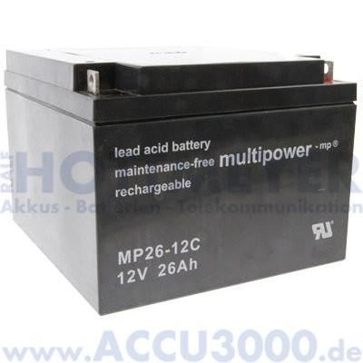 12V, 26.0Ah (C20), Multipower MP26-12C, Zyklenfest