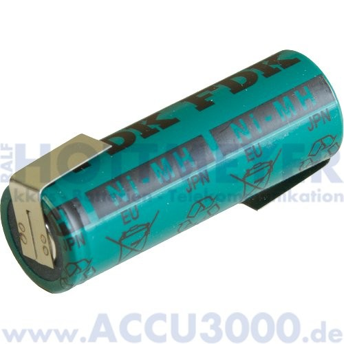 FDK HR-AU, Akku NiMh A - 1.2V, 2700mAh - mit Z-Lötfahne - 17.0 x 50.0mm