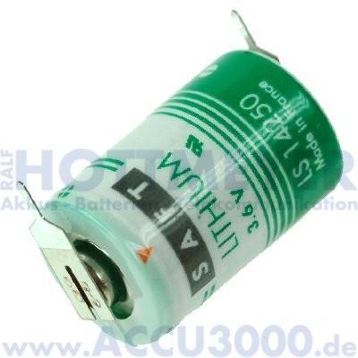 Saft Lithium LS14250-2PF, 1/2 AA - 3.6V, 1100mAh - mit Printanschluss (1+1)