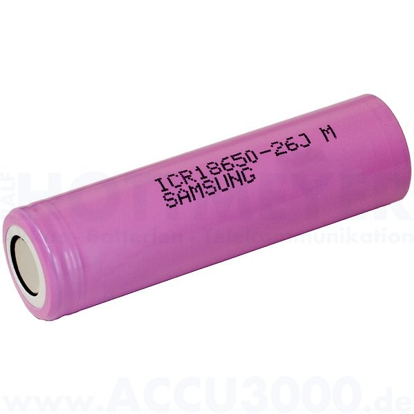 Samsung Lithium-Ionen Akku ICR18650-26J, 4/3A - Rohzelle