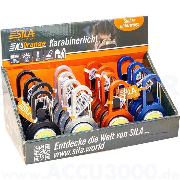Sila K50range Karabinerlicht, 50 Lumen - 16er Display