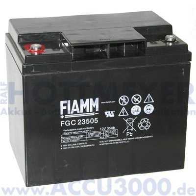 12V, 35.0Ah (C20), Fiamm FGC 23505, Zyklenfest