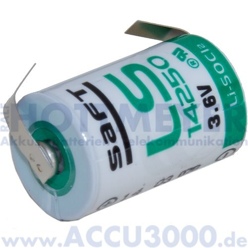 Saft Lithium LS14250CNR, 1/2 AA - 3.6V, 1100mAh - mit Lötfahne