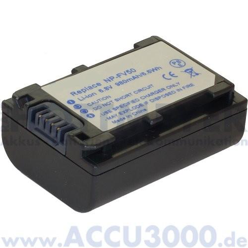 Akku f. Sony NP-FV30, NP-FV50 - 6.8V, 980mAh, Li-Ion