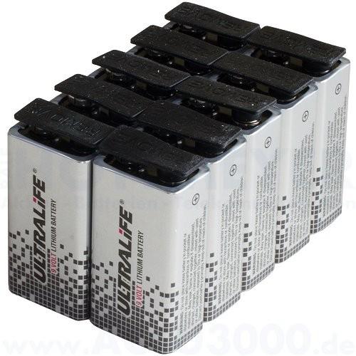 Ultralife U9VL Lithium E-Block, 10 Stück - 9.0V, 1200mAh