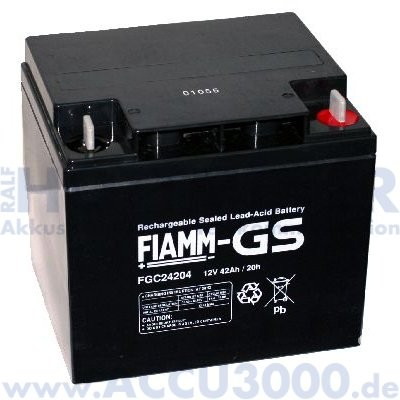 12V, 42.0Ah (C20), Fiamm FGC24204, Zyklenfest