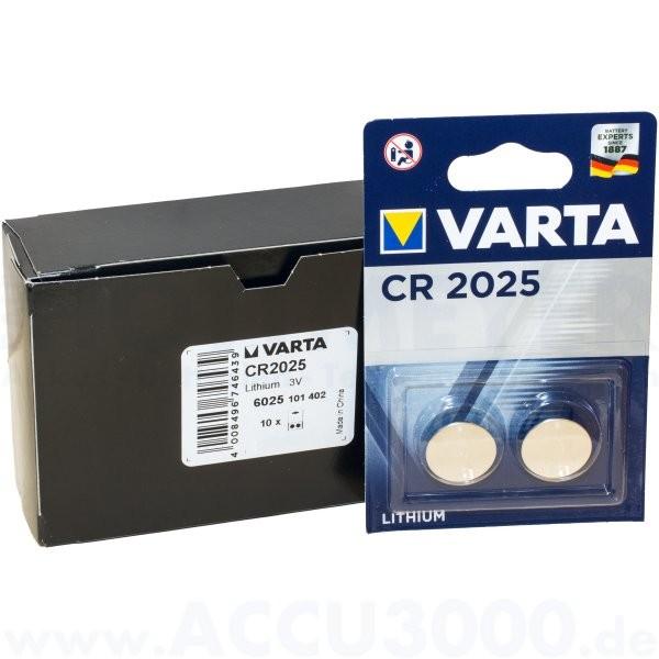 Varta Lithium CR-2025 - 3V Knopfzelle - 10x 2er Pack (20 Stück)