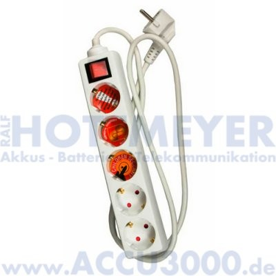 Arcas 5-fach Steckdosenleiste - weiß - mit Schalter und 1.5m Anschlusskabel - inkl. Kindersicherung