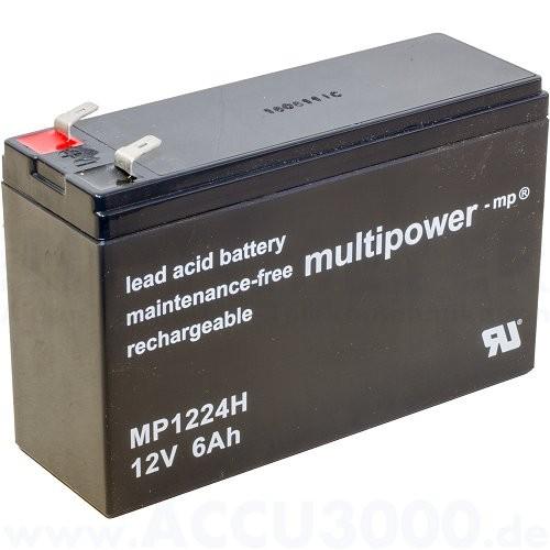 12V, 6.0Ah (C20), Multipower MP1224H, Hochstromfest