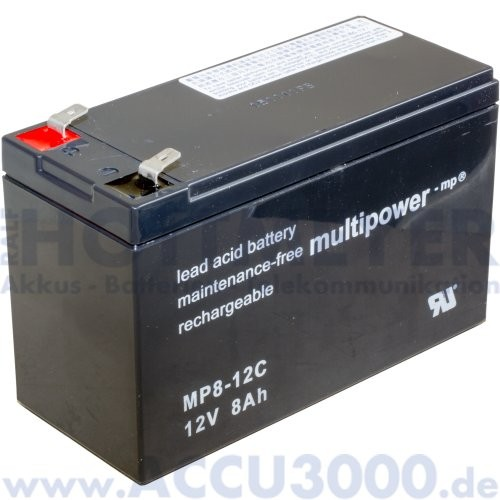 12V, 8.0Ah (C20), Multipower MP8-12C, Zyklenfest