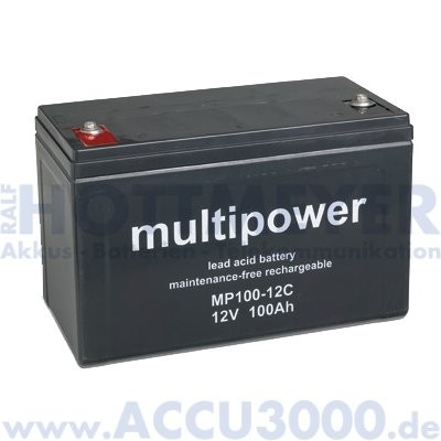 12V, 100.0Ah (C20), Multipower MP100-12C, Zyklenfest