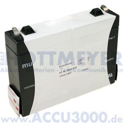 12V, 2.8Ah (C20), Multipower MP12-2.8 inkl. Klettverschluss