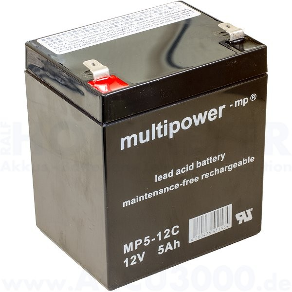 12V, 5.0Ah (C20), Multipower MP5-12C, Zyklenfest