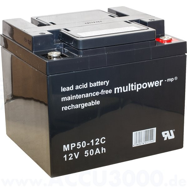 12V, 50.0Ah (C20), Multipower MP50-12C, Zyklenfest