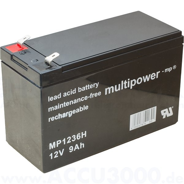 12V, 9.0Ah (C20), Multipower MP1236H, Hochstromfest