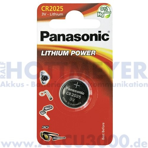 Panasonic Lithium Power CR2025 - 3V, 165mAh, 12er Pack, 20 x 2.5mm