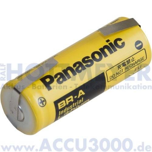 Panasonic Lithium Battery BR-A - 3V, 1800mAh - mit Lötfahne