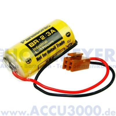 CNC Backup Batterie Lithium BR-2/3A (CR-17335SE-R) - 3V, 1200mAh, mit Kabel und Stecker