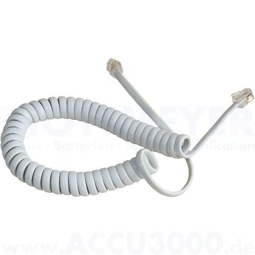 Hörerspiralkabel gewendelt, weiss - kurz, ca. 1.5-2m