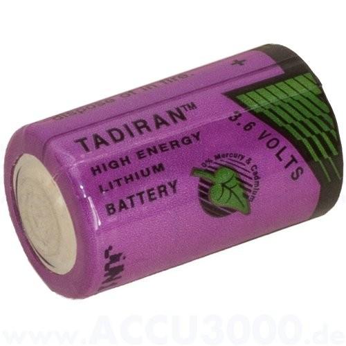 Tadiran SL-750/S, 3.6V, 1100mAh - 14.7 x 25.2mm, 1/2 AA
