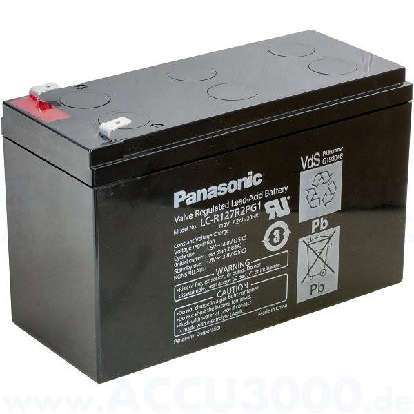 12V, 7.2Ah (C20), Panasonic LC-R127R2PG1