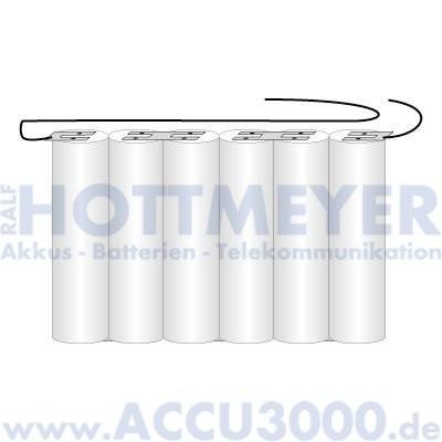 Akku für Notbeleuchtung 7.2V, 2500mAh - 6er Reihe, F1x6 Saft VNT C mit Kabel, NiCd