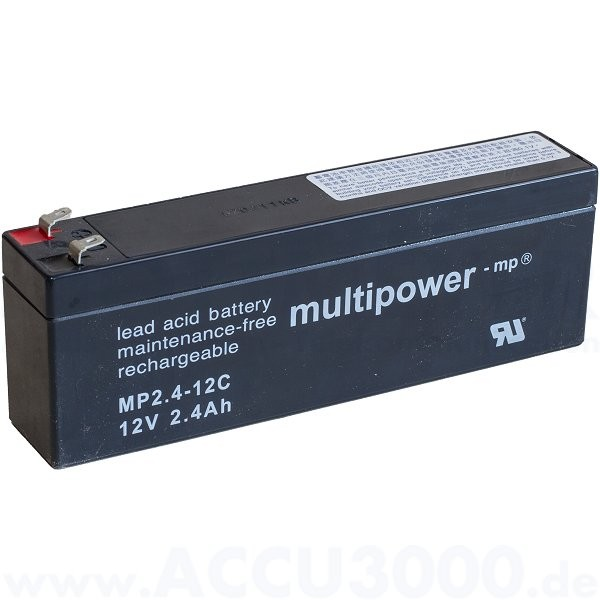 12V, 2.4Ah (C20), Multipower MP2.4-12C, Zyklenfest