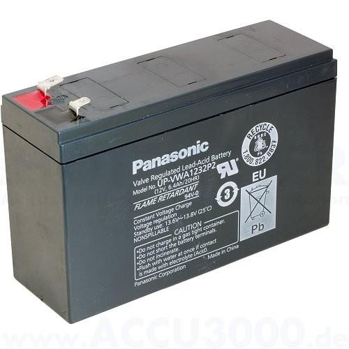 12V, 6.4Ah (C20), Panasonic UP-VWA1232P2, Hochstromakku