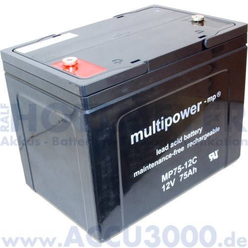 12V, 75.0Ah (C10), Multipower MP75-12C, Zyklenfest