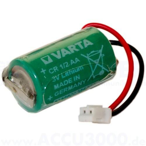 Varta CR 1/2 AA - 3.0V, 950mAh, mit Kabel und Stecker - 1/2AA